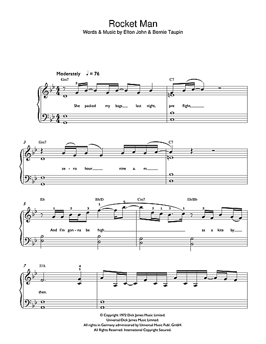 Rocket Man Sheet Music