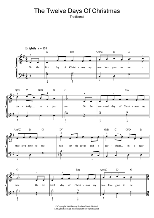 Guitar u00bb Guitar Tabs 12 Days Of Christmas - Music Sheets, Tablature, Chords and Lyrics