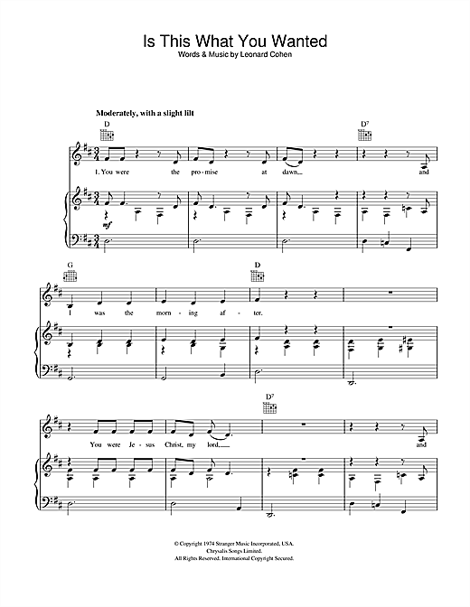 Is This What You Wanted Sheet Music