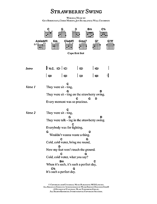 Strawberry Swing Sheet Music By Coldplay Lyrics Chords 42476