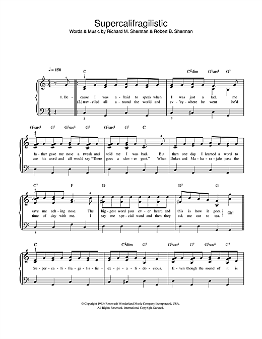 Supercalifragilisticexpialidocious (from Mary Poppins) Sheet Music
