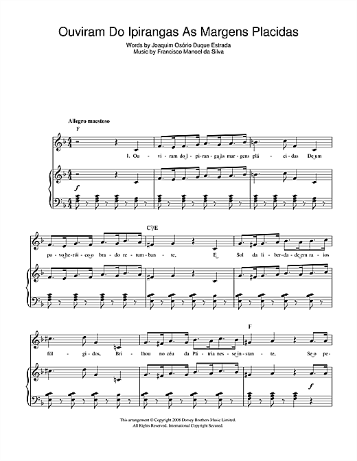 Ouviram Do Ipirangas As Margens Placidas (Brazilian National Anthem) Sheet Music