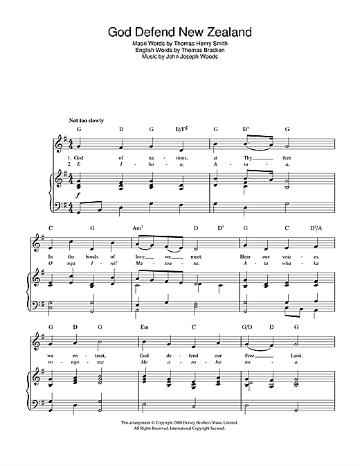 God Defend New Zealand (New Zealand National Anthem) Sheet Music