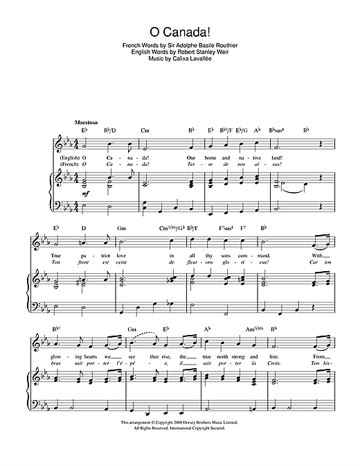 O Canada! (Canadian National Anthem) Sheet Music