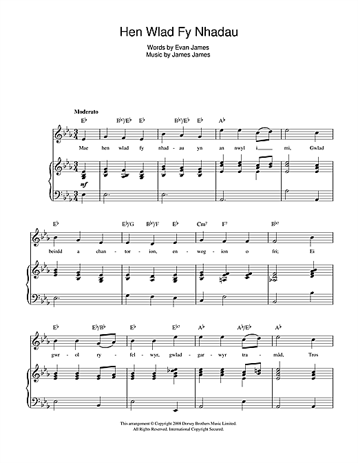 Guitar national anthem guitar tabs : Hen Wlad Fy Nhadau (Welsh National Anthem) sheet music by Evan ...