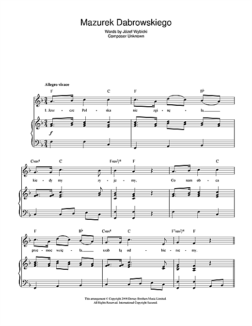 Guitar national anthem guitar tabs : Mazurek Dabrowskiego (Polish National Anthem) sheet music by Jozef ...