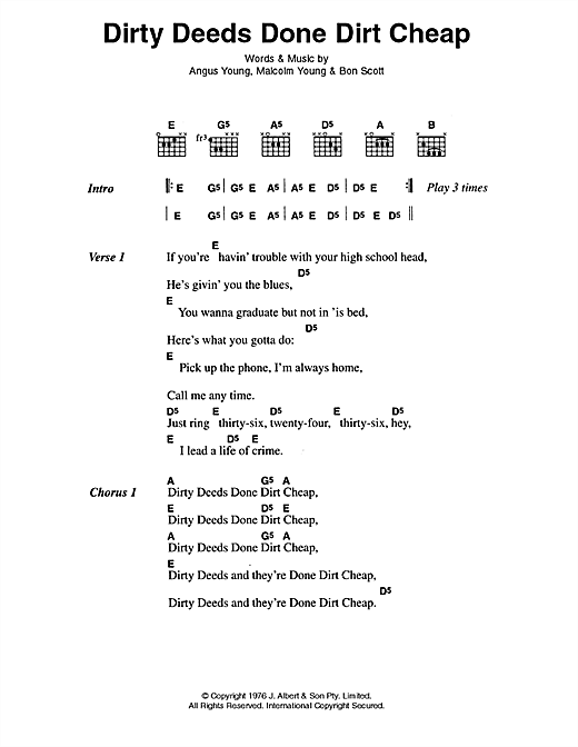 Dirty Deeds Done Dirt Cheap Sheet Music