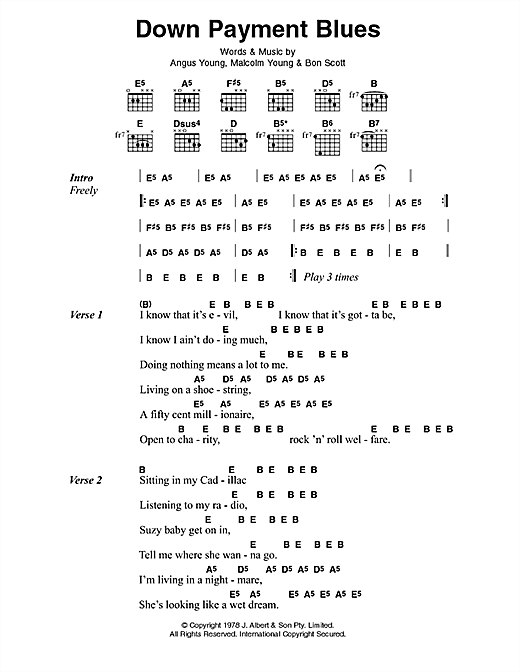 Down Payment Blues Sheet Music