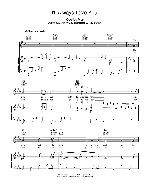 I'll Always Love You (Querida Mia) Sheet Music