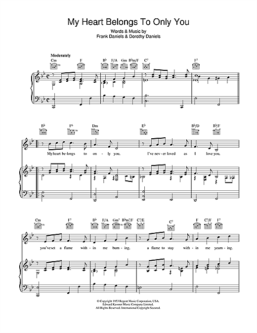 Partition piano My Heart Belongs To Only You de Bobby Vinton - Piano Voix Guitare (Mélodie Main Droite)