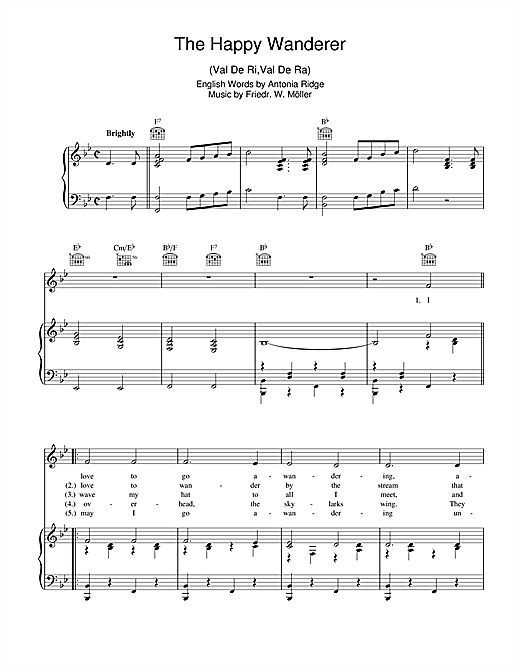 The Happy Wanderer (Val-De-Ri, Val-De-Ra) Sheet Music