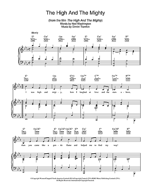 The High And The Mighty Sheet Music