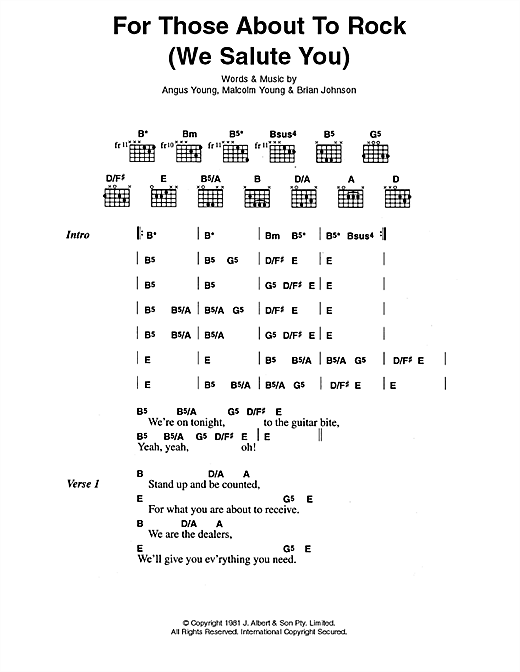 For Those About To Rock (We Salute You) (Guitar Chords/Lyrics)