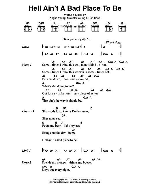 Hell Ain't A Bad Place To Be (Guitar Chords/Lyrics)