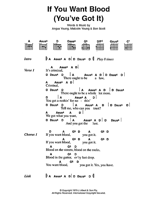 If You Want Blood (You've Got It) Sheet Music