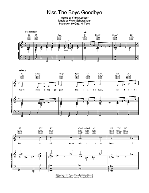 Kiss The Boys Goodbye Sheet Music