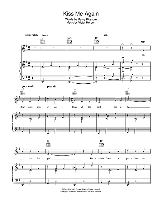 Kiss Me Again Sheet Music