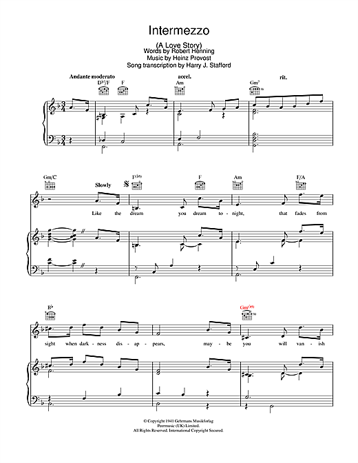 Intermezzo - A Love Story Sheet Music