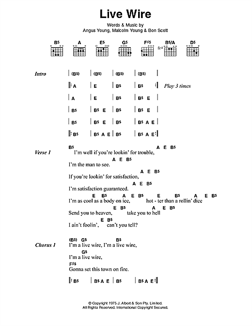 Live Wire Sheet Music