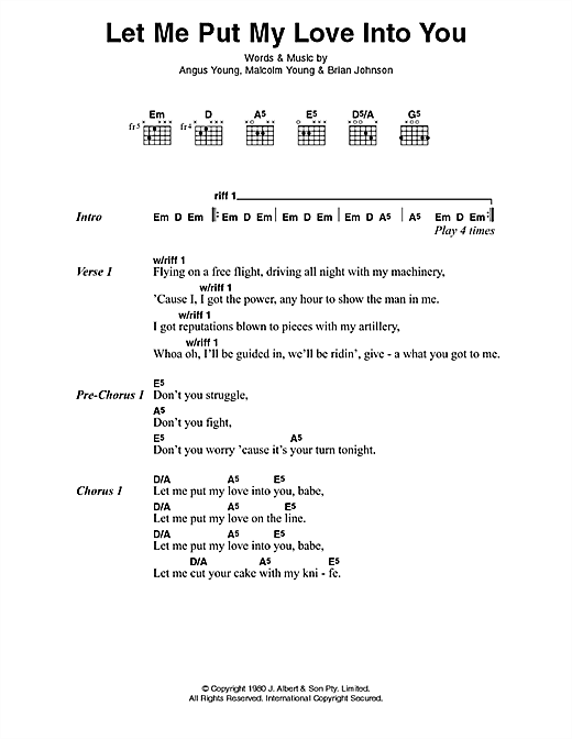 Let Me Put My Love Into You Sheet Music