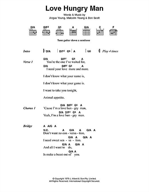 Love Hungry Man Sheet Music