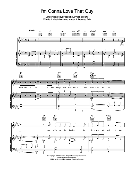 I'm Gonna Love That Guy (Like He's Never Been Loved Before) Sheet Music