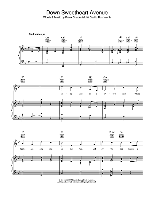 Down Sweetheart Avenue Sheet Music