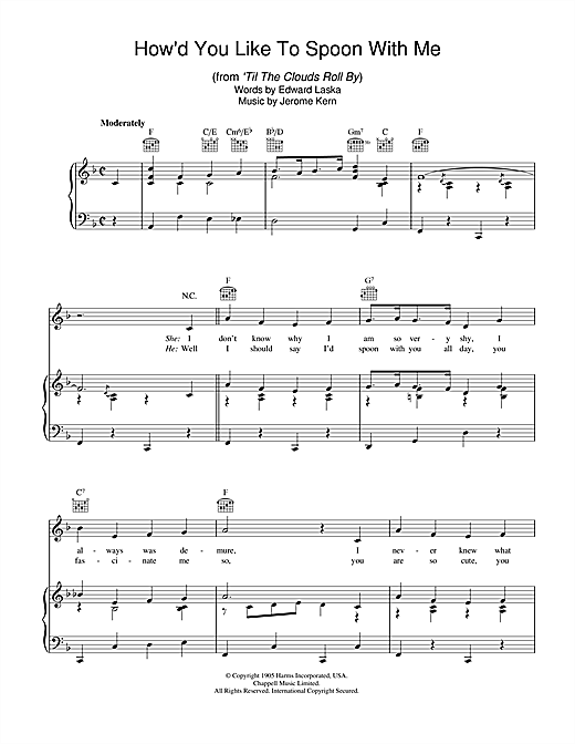 Partition piano How'd You Like To Spoon With Me de Jerome Kern - Piano Voix Guitare (Mélodie Main Droite)