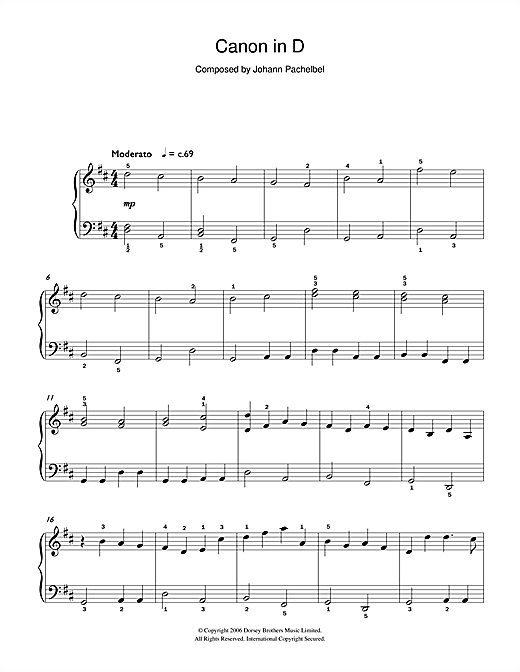 Pachelbel's Canon in D Major Sheet Music