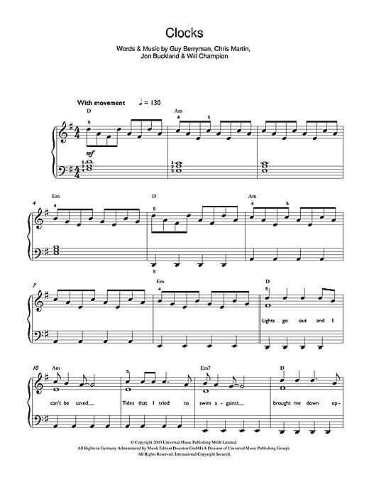 Clocks sheet music by Coldplay (Beginner Piano u2013 42615)