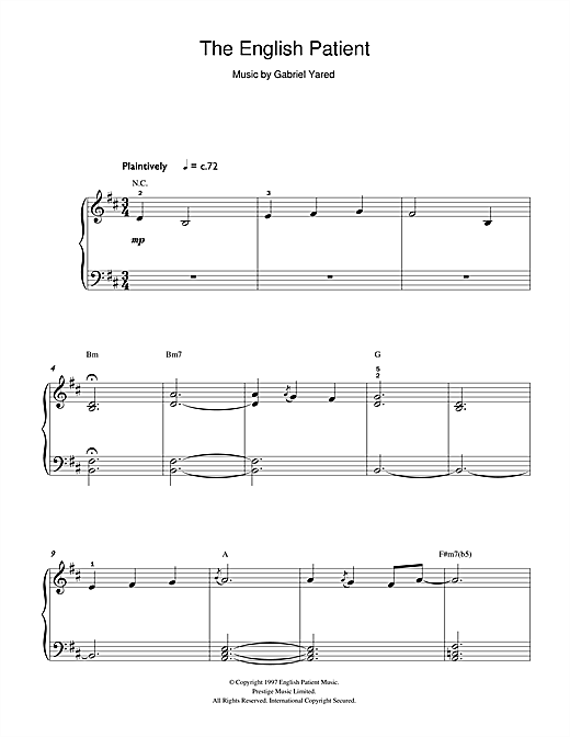 The English Patient Sheet Music