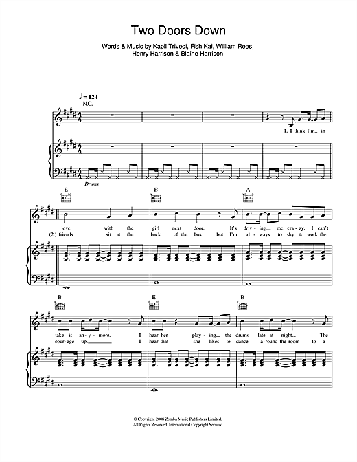 Two Doors Down Sheet Music