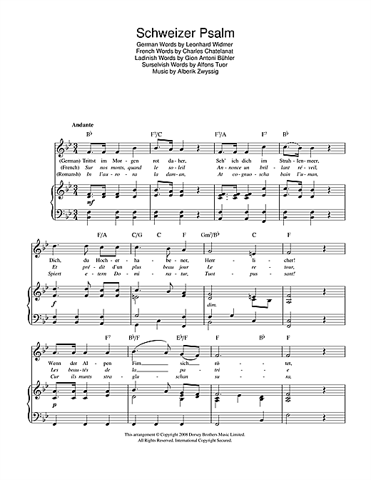 Schweizer Psalm (Swiss National Anthem) sheet music by Alberik ...