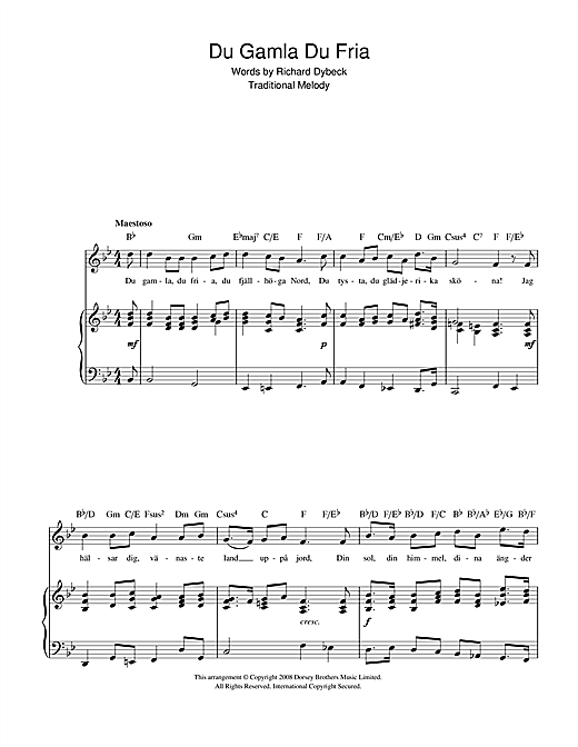 Du Gamla Du Fria (Swedish National Anthem) Sheet Music
