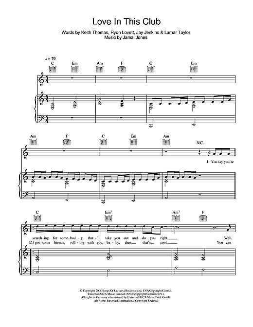 Love In This Club (feat. Young Jeezy) Sheet Music