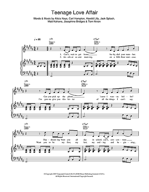Teenage Love Affair Sheet Music