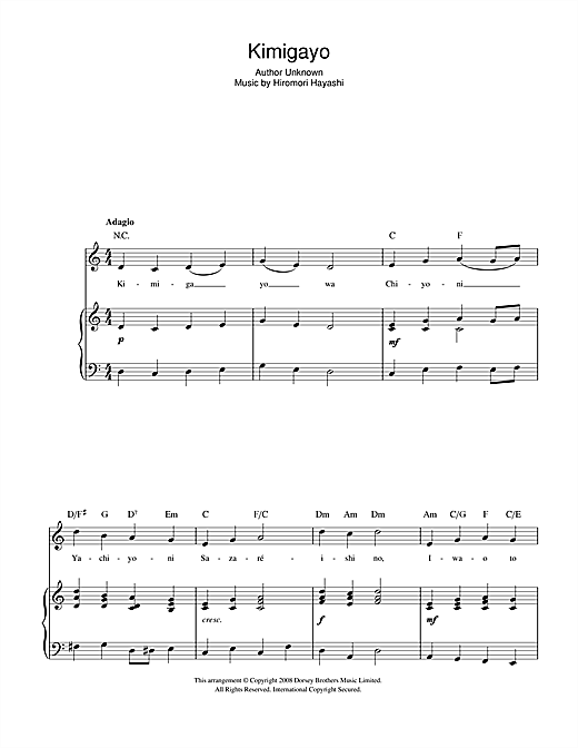 Guitar national anthem guitar tabs : Kimigayo (Japanese National Anthem) sheet music by Hiromori ...