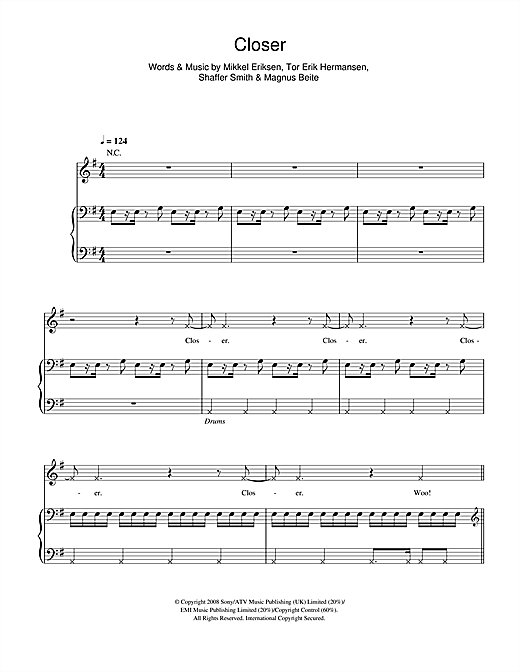 Closer Sheet Music