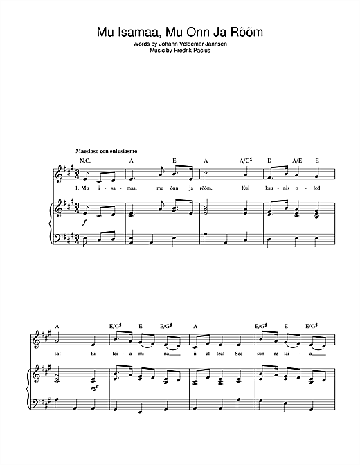 Mu Isamaa, Mu Onn Ja Room (Estonian National Anthem) Sheet Music