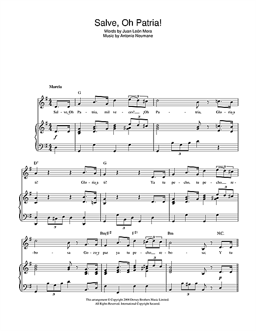 Salve, Oh Patria! (Ecuadorian National Anthem) Sheet Music