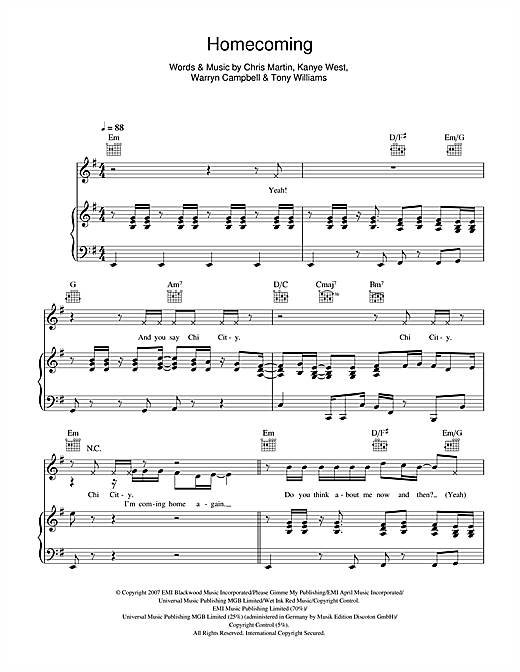 Homecoming (feat. Chris Martin) Sheet Music