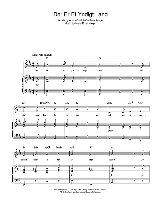 Der Er Et Yndigt Land (Danish National Anthem) Sheet Music