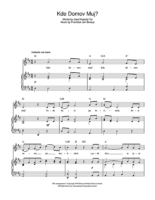 Kde Domov Muj? (Czech Republic National Anthem) Sheet Music