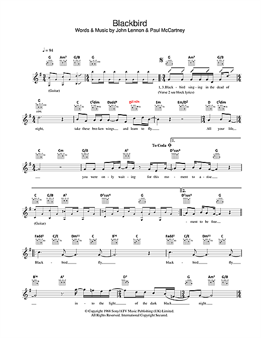 Blackbird (Lead Sheet / Fake Book)