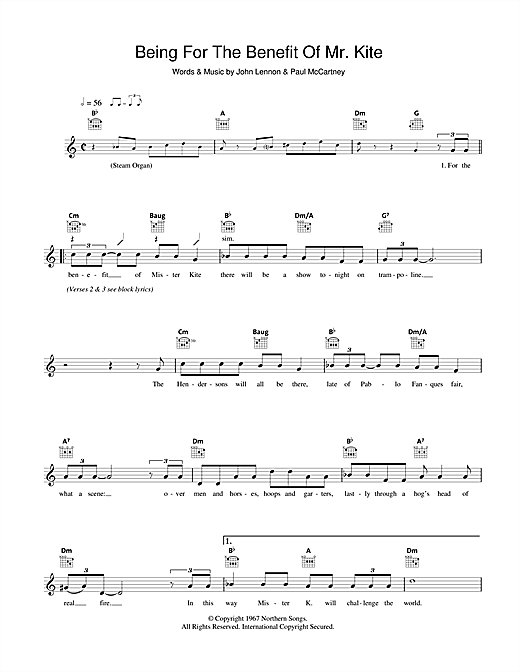 Being For The Benefit Of Mr. Kite Sheet Music