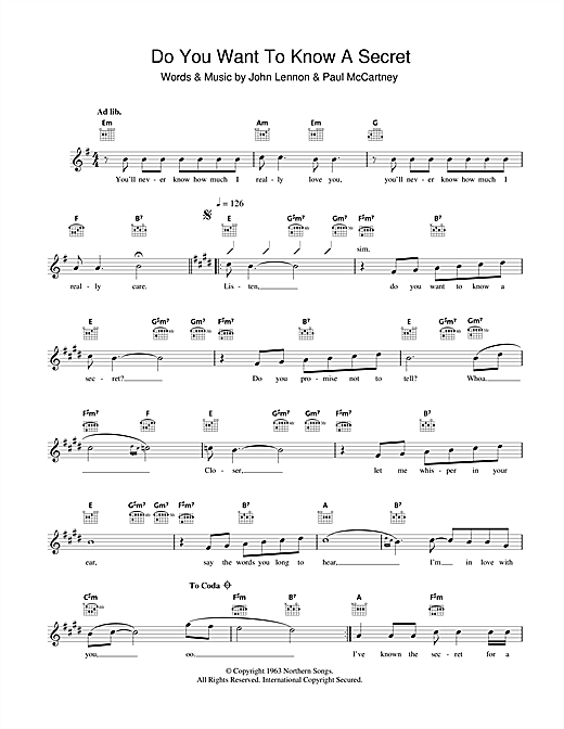 Do You Want To Know A Secret Sheet Music