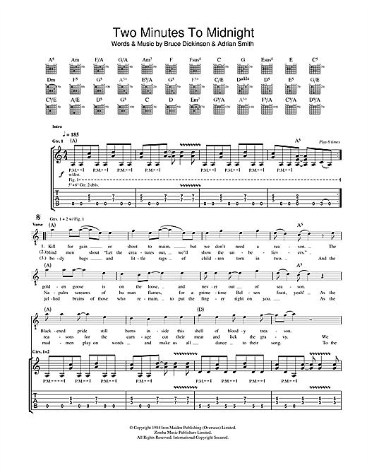 Tablature guitare Two Minutes To Midnight de Iron Maiden - Tablature Guitare
