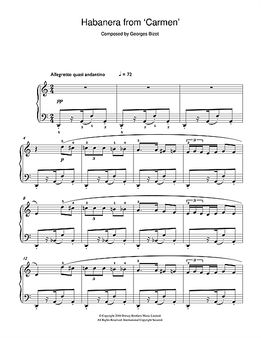 Habanera (from Carmen) (Easy Piano)