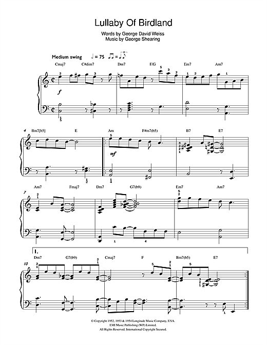 Lullaby Of Birdland Sheet Music