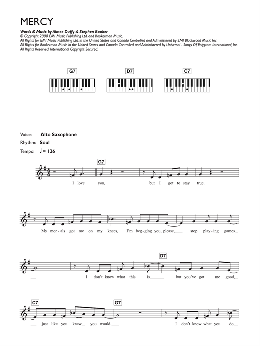 Mercy sheet music by Duffy (Keyboard – 42814)